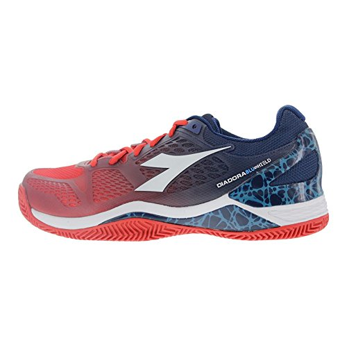 Diadora Men`s S Blueshield AG Tennis Shoes Fiery Red and Blue Estate - (171492-C6502S17) BGHngiF