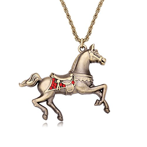 - RUXIANG Crystal Running Horse Animal Restoring Ancient Style Pendant Sweater Chain Necklace (red)
