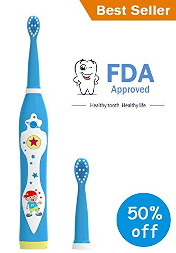 OJV Professional Kids Electric Sonic Rechargeable Toothbrush with 2 Dental Care Modes 4 Songs and 2 Replaceable Brush Heads (Blue-Sonic Toothbrush)