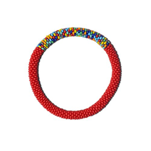 Crocheted Beaded Bracelet (Matte Red with Accent of Mixed Crocheted Beaded Bracelet, Japanese Seed Beads,Nepal, color block,PB344)