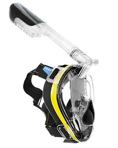 Deep Sea O2 | Only Full Face Snorkel Mask Designed to Protect Against Dangerous CO2 Build-Up | Panoramic View | Soft Nose for Diving | Anti-Fog | Camera Mount | Universal Size- Kids to Adult | Yellow -