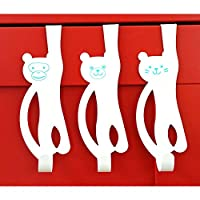 Over Door Animal Door Hooks - 3 Pack - Bear Monkey Cat for Clothes Towels Accessories Sturdy Metal Over Door Hooks