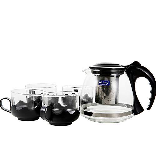 Juego de tetera y tazas de cristal de 800 ml, resistente al calor, infusor de acero inoxidable, portavasos extraibles, colador para te y cafe sueltos, 4 tazas (150 ml)