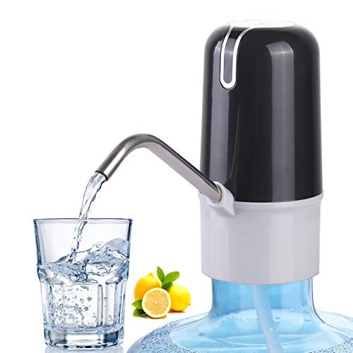 WORTHBUY Portable Electric Drinking Water Pump Dispenser, Fast Pumping Water Dispenser for 5 Gallon Bottle and Other Standard Size, Rechargeable Battery Inside(Black)