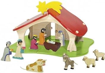 Weihnachten Krippe Bilder.Amazon De Krippe Mit 10 Figuren Holz Krippenfiguren Weihnachten