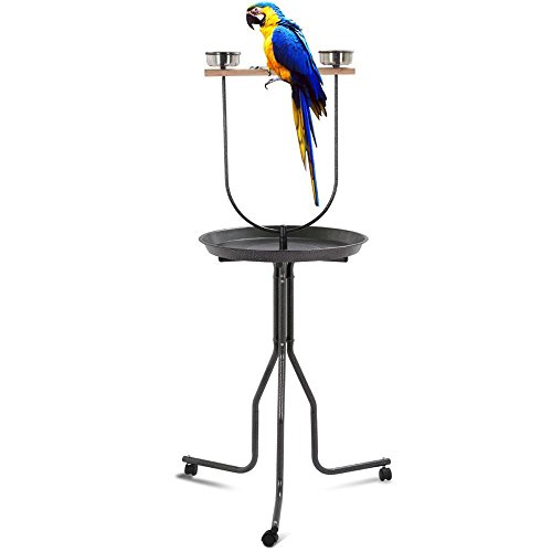 Yaheetech 62'' Tall Bird Play T Stand w/Wheels-22 Wide Tray,19'' Long Wood Stick by Yaheetech