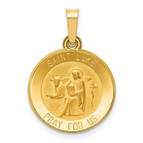 14k Yellow Gold Saint Luke Medal Pendant Charm Necklace Religious Patron St Fine Jewelry Gifts For Women For Her ()
