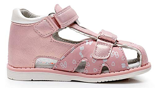 Apakowa Toddler Girls Closed Toe Sandals Summer Princess Kids Double Velcro Butterfly Orthopedic Sandal Outdoor Beach Walking Party Dress Travelling Casual Flat Footwear Pink White