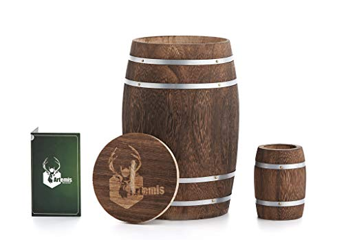 - Decorative Container Wooden Barrel w/ Lid for Home Decor - Handmade Caddy for Kitchen, Bar, Dining / Living Room and Office. Versatile Storage. Bonus Small Whiskey Barrel Toothpick Holder