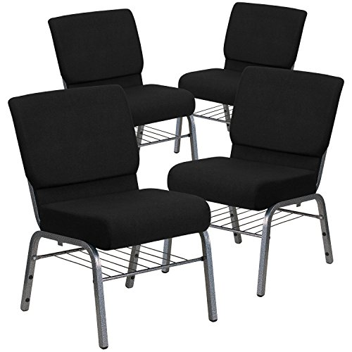 Flash Furniture 4 Pk. HERCULES Series 21''W Church Chair in Black Fabric with Book Rack - Silver Vein Frame