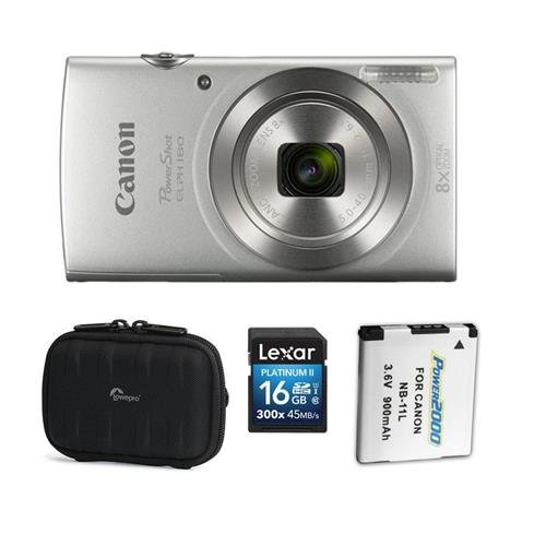 180 Point Shoot Digital Camera, 20.MP, 8X Optical Zoom Lens, and AccessoryBundle (Silver) (Optical Point And Shoot Camera Lens)