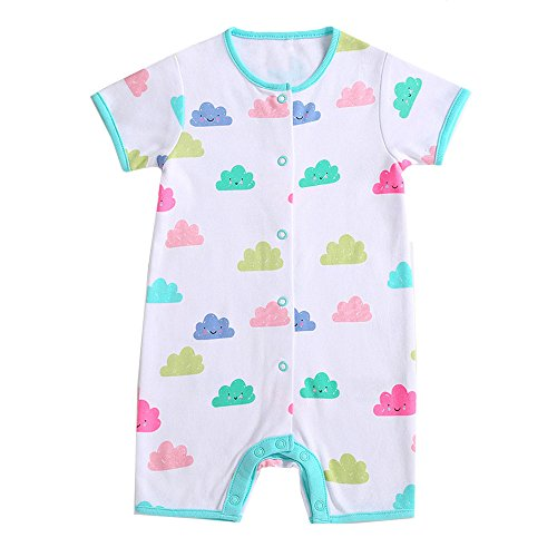 Kehen Comfy Pajamas for Newborn Infant Baby Boy Girl Short Sleeve Cloud Print Romper Jumpsuit Summer Home Wear (White, 6-12 Months) (Comfy Bodysuit)