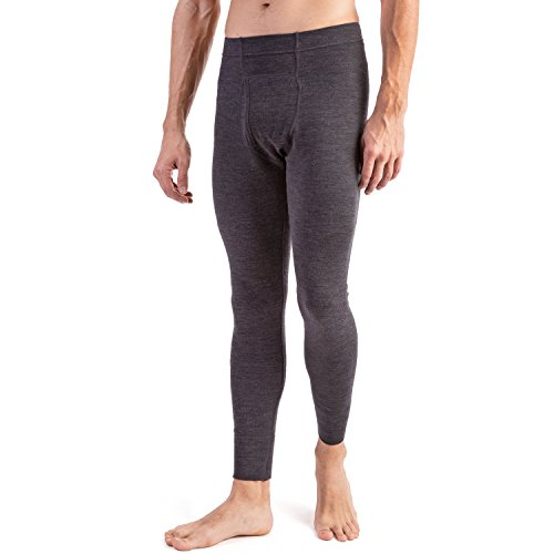 MERIWOOL Men's Merino Wool Midweight Baselayer Bottom - Charcoal - Sky Ski Australia