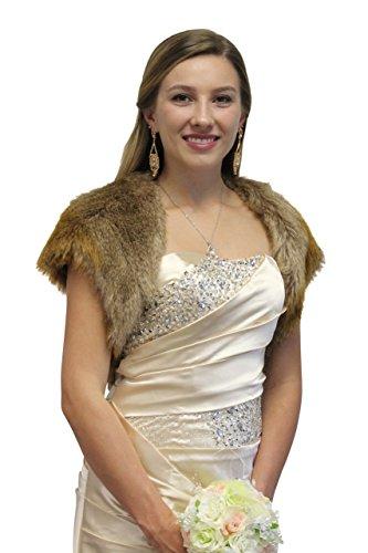 Faux Fur Bolero Jacket Vintage Brown, Bridal Fur Bolero, Wedding Jacket, Faux Fur Shrug-S