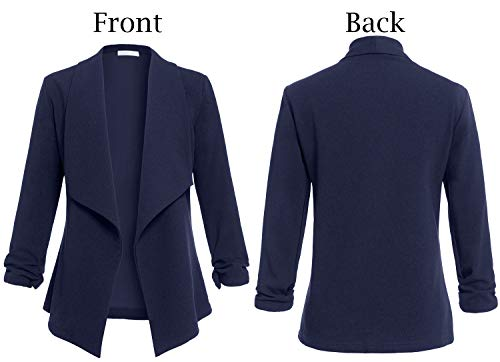 AUQCO Casual Open Front Blazer for Women Work Office Business Jacket Ruched 3/4 Sleeve Lightweight Draped Cardigan 17
