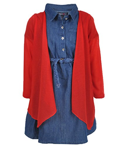 Limited Too Little Girls' 2 Piece Set Cardigan and Denim Dress, Blue/Red, 5/6