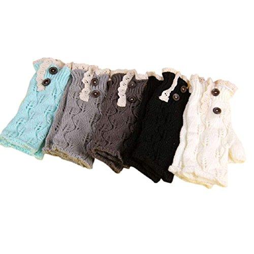 Guantes calientes para Mujeres,Ouneed ® Moda punto botón hueco hacia fuera hoja guantes caliente Verde