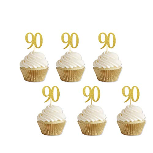 Gold Glitter 90th Birthday Cupcake Toppers Party Supplies Decorations 24 Counts ()