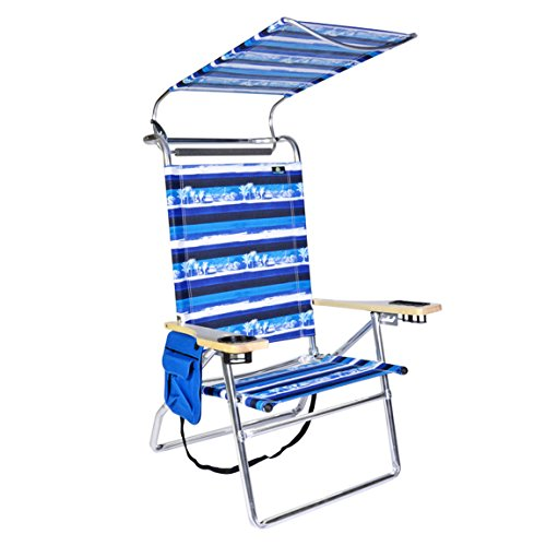 BeachMall Deluxe 4 position Aluminum Beach Chair w/Canopy & Storage - Sleeves Canopy