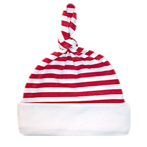 nice Jacqui's Unisex Baby Red and White Striped Knotted Hat - Seven Sizes! hot sale