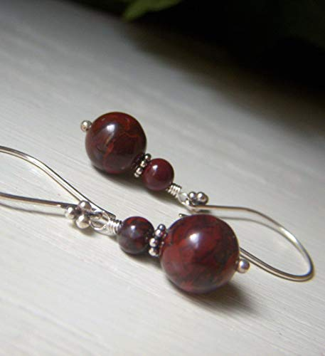 Poppy Jasper Earrings, Sterling Silver Drop, Dark Red Color, Round Genuine Gemstone - Sterling Red Jasper