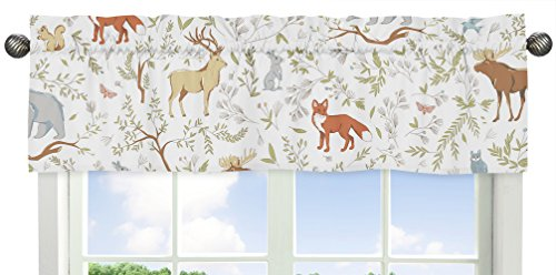 Sweet Jojo Designs Blue, Grey and White Animal Print Window Valance for Woodland Toile Collection Bedding Sets