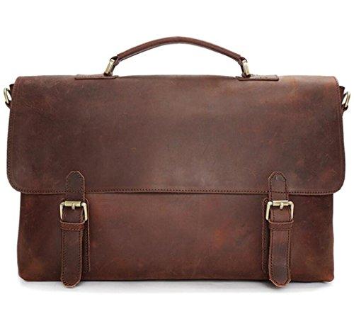 brown SHOUTIBAO Compras de Brown Trabajo Viaje Bolso dark Bolso de Hombre Bolso Cartera Retro de Mensajero Cuero C1CwUraxq