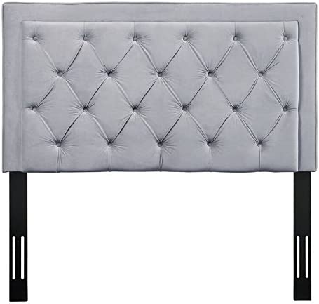 TOV Furniture The Nacht Collection Tufted Upholstered Wood Metal Headboard