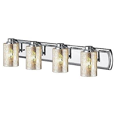 Industrial Mercury Glass 4-Light Vanity Light in Chrome