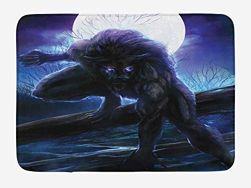 Fantasy World Bath Mat, Surreal Werewolf with Electric Eyes in Full Moon Transformation Folkloric, Plush Bathroom Decor Mat with Non Slip Backing, 31.5 X 19.7 Inches, Purple Blue]()