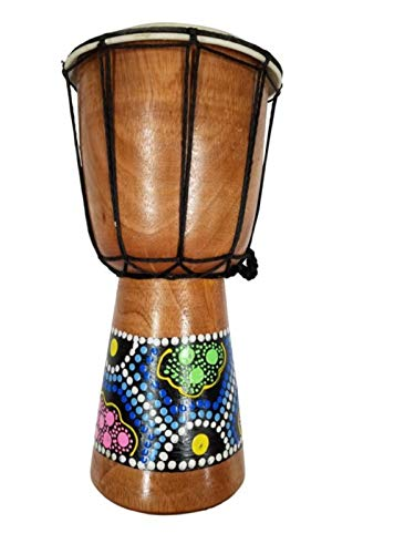 DJEMBE DRUM BONGO HAND CARVED AFRICAN ABORIGINAL DOT ART DESIGN by Bethlehem Gifts TM (7 inches)