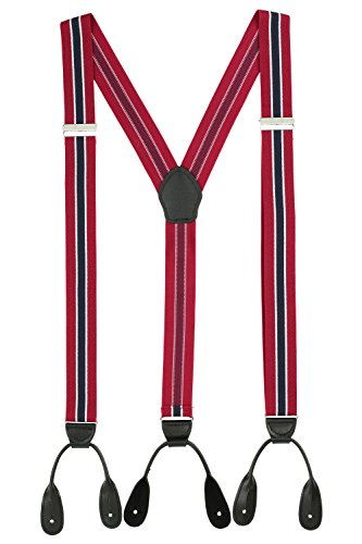Suspenders for Men Leather Button End Tuxedo Y Back Mens Suspenders Pant Braces - Red/Navy by Luther Pike Seattle