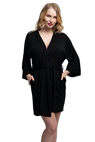ExpressBuyNow Comfortable Modal cotton Kimono Robe Short Bathrobe for Women f7a2fce7e
