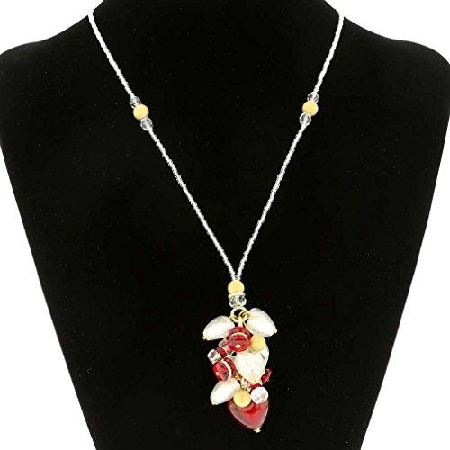 (GlassOfVenice Murano Glass Donatella Heart Charms Necklace - Red )