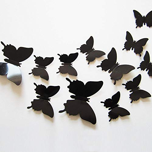 Neele 24pcs 3D Butterfly Removable Mural Stickers Wall Stickers Decal for Home and Room Decoration(Black)