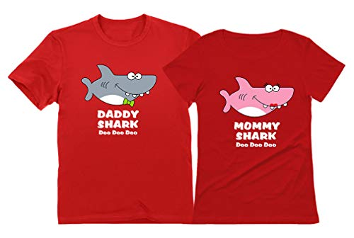 Daddy Shark Mommy Shark Doo Doo Doo Mom and Dad Gift T-Shirt Funny Family Set Daddy Red X-Large/Mommy Red Medium
