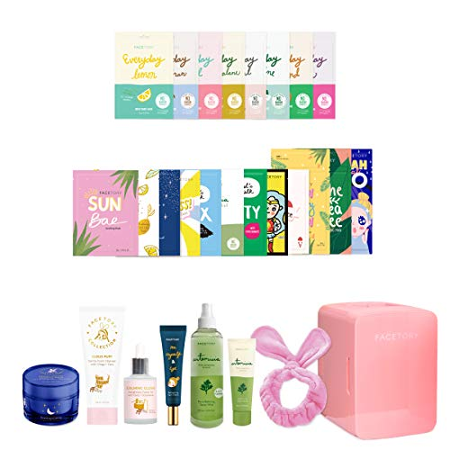 FaceTory Ultimate Story Collection 4.0 with Skincare Fridge and Facial Sheet Masks for Hydrating, Moisturizing, Soothing