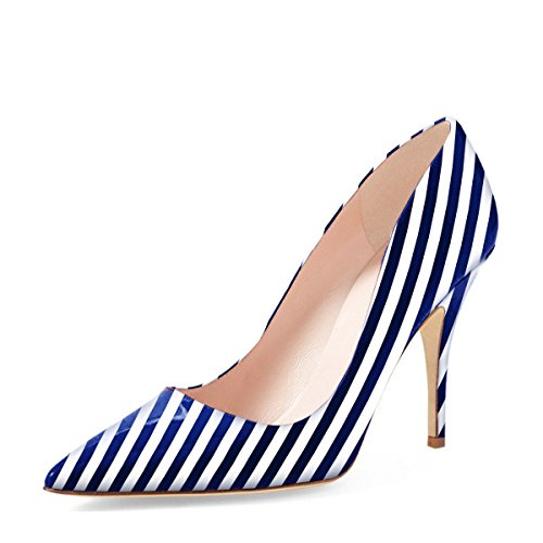 Navy Shoes White Dress (YDN Women Classic Pointy Toe Low Heel Pumps Slip on Black and White Stripe Shoes 10 (Navy Stripe))