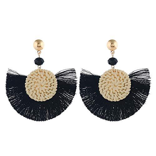 (FIged Tassel Hoop Earrings Bohemia Fan Shape Drop Earrings Dangle Hook Eardrop for Women Girls Party Bohemia Dress Accessory)