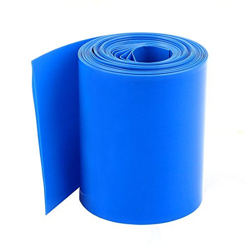 uxcell 5Meter 64mm Width Blue PVC Heat Shrink Tubing Wrap for AA Battery Pack