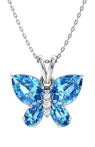 Diamondere Natural and Certified Blue Topaz and Diamond Butterfly Petite Necklace in 14k White Gold | 1.11 Carat Pendant with