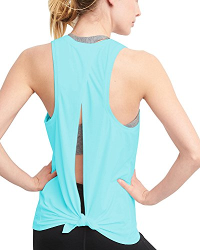 Mippo Women's Summer Backless Workout Top Sexy Active Racerback Tank Top Cut Out Back Tie Back Yoga Breathable T-Shirt for Sport Aurora Blue XL (Tie Back Cut Out)
