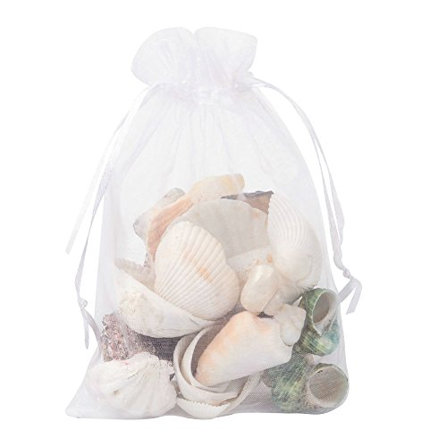 Pandahall 100 PCS 5x7 inch White Organza Drawstring Bags Party Wedding Favor Gift Bags