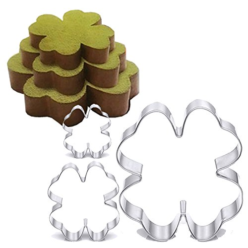 TAMUME Roestvrij staal Clover-Shape Cake Tin Set van 3 voor Layer Cake Mould Mousse Ring Mould Ideaal voor Bruiloft Cake…