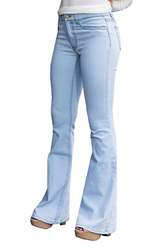 Ybenlow Women Classic High Waist Flared Skinny Denim Jeans Bell Bottom Pants (X-Large, Light (Sexy Ultra Low Rise Jeans)