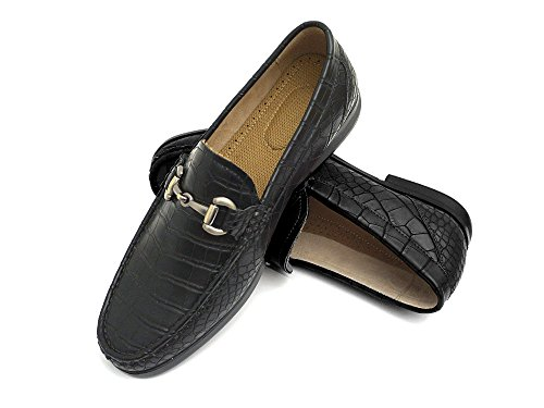 Easy Strider Men's Loafer Shoes – Premium Alligator Material- Faux Leather Lined – Elegant Silver Metal Buckle - Perfect Business Dress Shoe for Men Or Casual Slip-On Loafer for Daily Wear