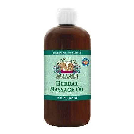 Montana Emu Ranch - Herbal Massage Oil - 16 Ounces - for Pet and Livestock - Enhanced with Pure Emu Oil