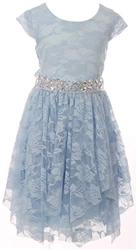 BNY Corner Big Girl Short Sleeve Floral Lace Ruffles Easter Summer Flower Girl Dress Light Blue 14 JKS 2095