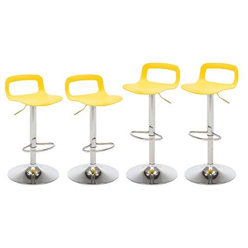 NOBPEINT Contemporary Chrome Air Lift Adjustable Swivel Bar Stool, Set of 4, Yellow