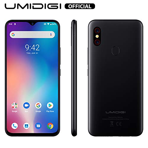 UMIDIGI F1 Factory Unlocked Phone Android 9.0 6.3″ FHD+ 128GB ROM 4GB RAM Helio P60 5150mAh Big Battery 18W Fast Charge Smartphone NFC 16MP+8MP Phone(Black)